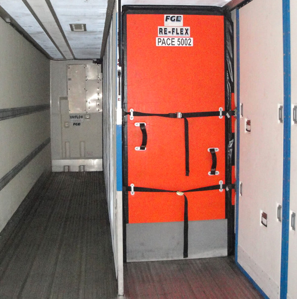 Product is in a temperature controlled trailer for domestic shipping services