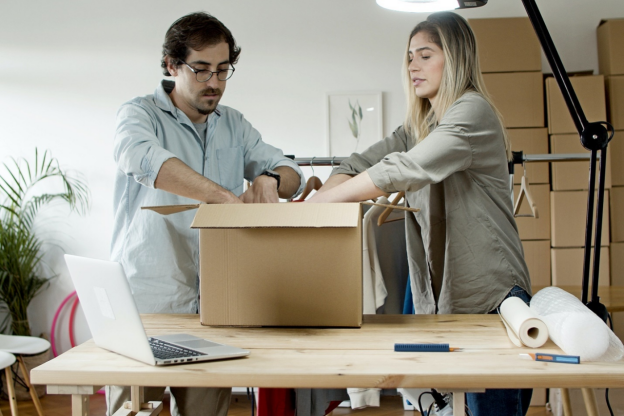 commercial office movers packing products