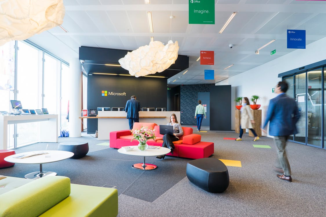 A well-designed Microsoft office with an open floor plan and smart workspaces.